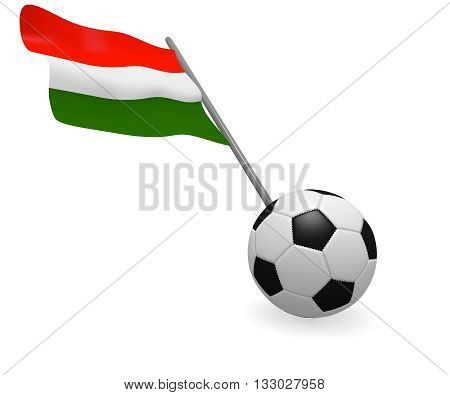 Soccer ball with the flag of Hungary on a white background