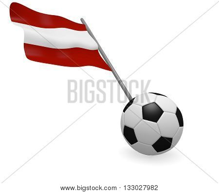 Soccer ball with the flag of Austria on a white background
