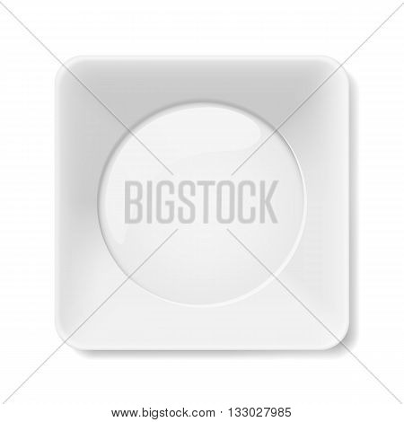 Empty white square flat plate isolated on white background