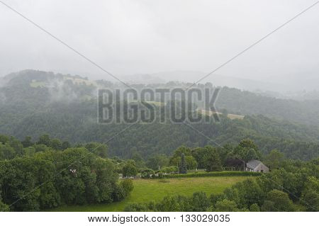 Misty Mountains In France. Region Midi Pyrenees..