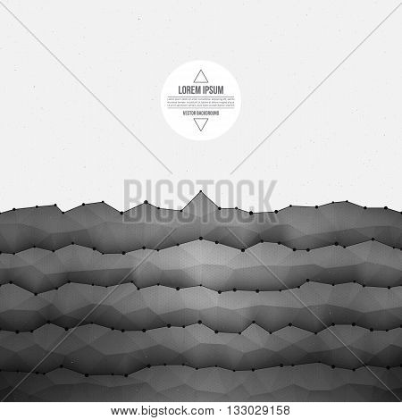 Abstract 3d vector textured geometrical polygonal waveform structure bright background for design, business, print, web, ui and other