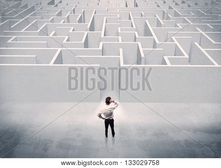 A good looking businessman with briefcase standing in front of white labyrinth entrance about to make a decision concept