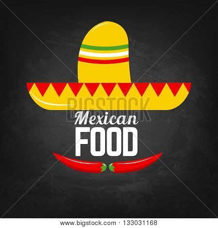 Mexican food. Sombrero and chili peppers. Mexican food menu template. Vector illustration.