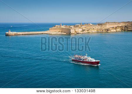Valletta Malta - May 05 2016: View of Fort Ricasoli on the Malta island