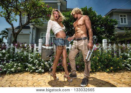 Happy couple in the garden.