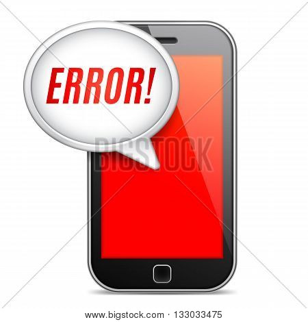Mobile phone displaying error message on red screen