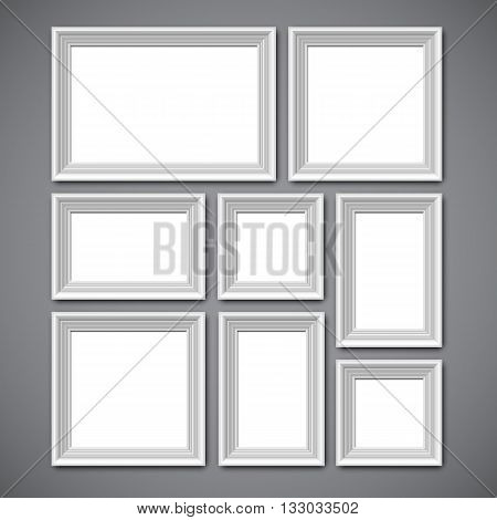 Collage of white picture frames or borders for photo or painting