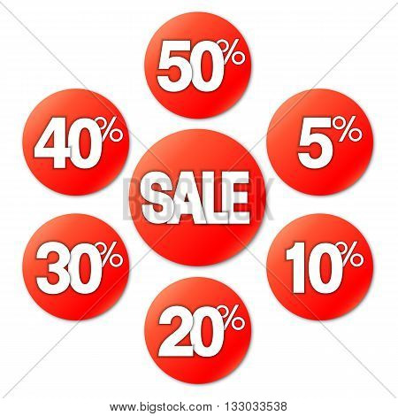 Sale stickers or labels on white background