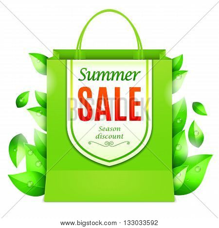 Green summer sale shopping bag decorated with fresh green leaves