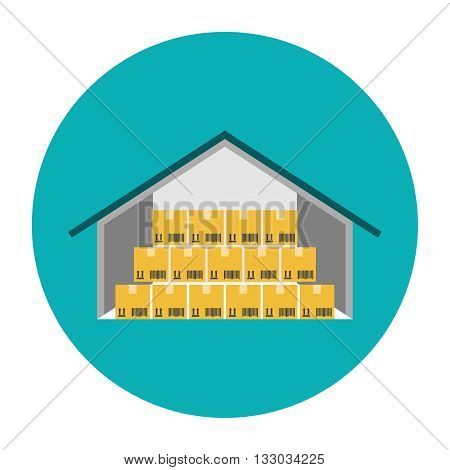 Warehouse flat icon. Cardboard boxes in a warehouse illustration
