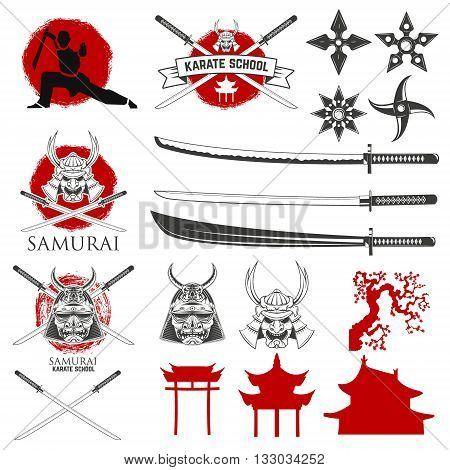 Set of karate school labels emblems and design elements. Katana sword fight school. Vector illustration.