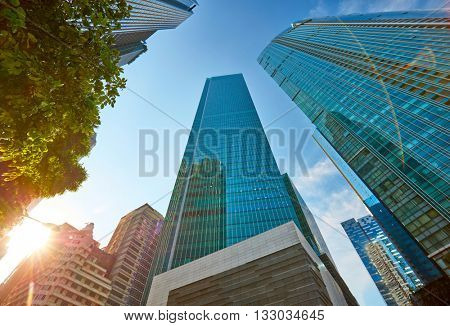 Skyscrapers in central business district of Singapore