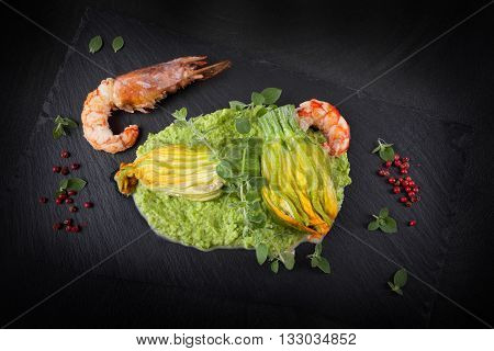 Stuffed Zucchini Flowers And Prawns