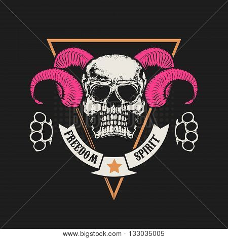 Skull with horns. Skull in grunge style and two brass knuckle. Design elements for t-shirt print poster. Vector illustration.