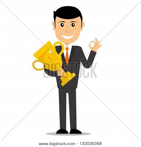 Winners businessman character. First winner hold the trophy. Business concept. Vector illustration.
