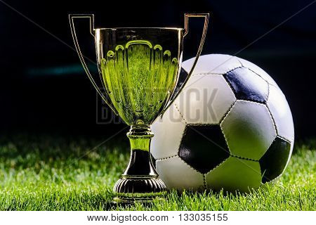 Football cup with football ball on grass by night