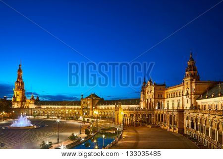 Night view of Spain Square (Plaza de Espana). Seville, Spain