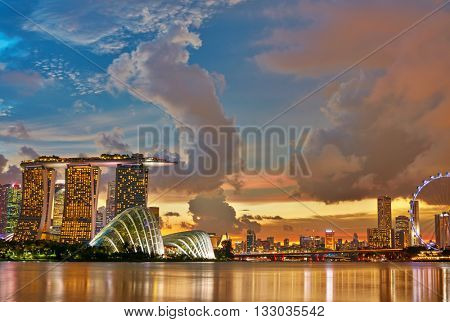 Singapore Skyline after sunset