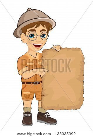 kid boy with glasses holding blank adventure map isolated over white background