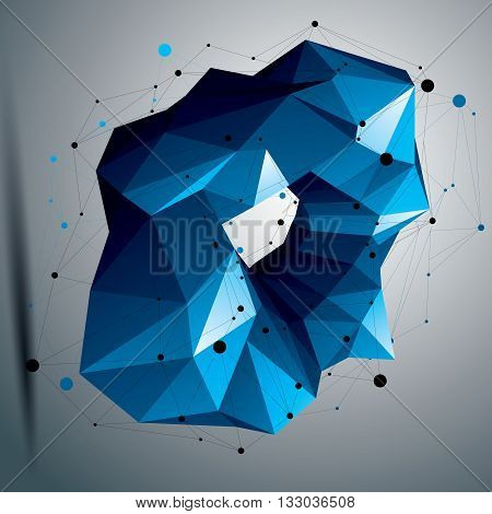 Complicated abstract colorful 3D shape vector bright digital object. Technology theme element.