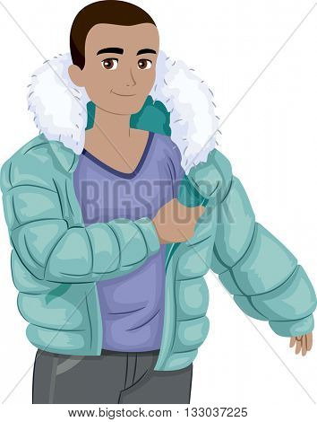 Illustration of a Teenage Boy Putting a Winter Jacket On