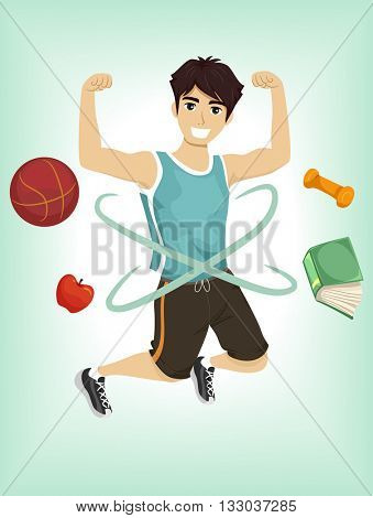 Illustration of a Teenage Boy Demonstrating His Physical Fitness