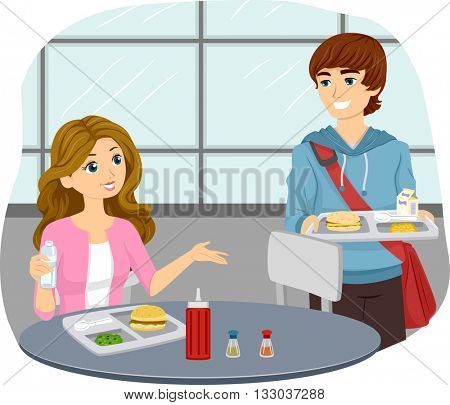 Illustration of a Teenage Couple Sharing a Cafeteria Table