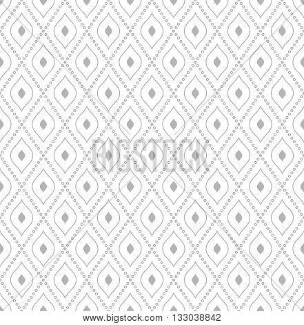 Geometric repeating ornament with diagonal dotted lines. Seamless abstract modern light silver pattern