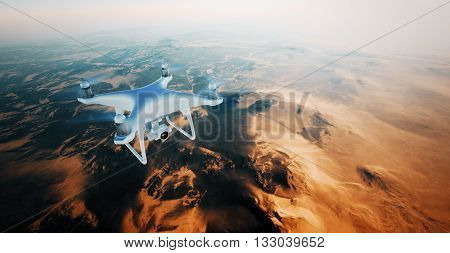 Photo White Matte Generic Design Air Drone Flying in Sky under the Earth Surface. Uninhabited Desert Mountains Sunset Background.Horizontal, front top angle view.Film Effect.3D rendering