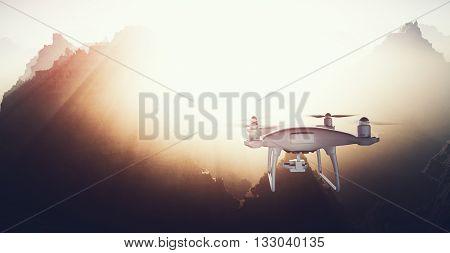 Photo White Matte Generic Design Modern Remote Control Drone action camera Flying in Sky under Earth Surface. Grand Canyon Sunset Background. Wide, back view.Film Effect. 3D rendering