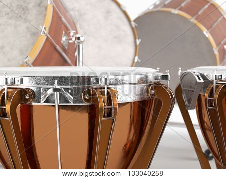 Orchestra drums on white background 3D rendering