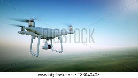 Image White Matte Generic Design Air Drone with video action camera Flying Sky under the Earth Surface. Green Fields Background. Wide, front side angle view. Film Effect. 3D rendering