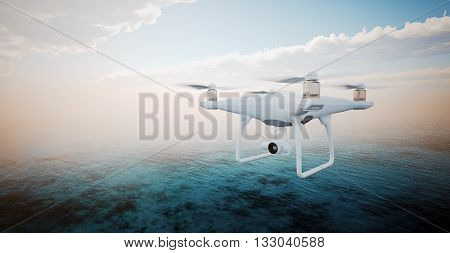 Image White Matte Generic Design Modern Remote Control Drone action camera Flying in Sky under Water Surface. Ocean Sunrise Background. Horizontal, front side view.Film Effect. 3D rendering