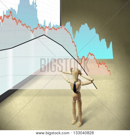 puppet holding his head against a background of falling charts