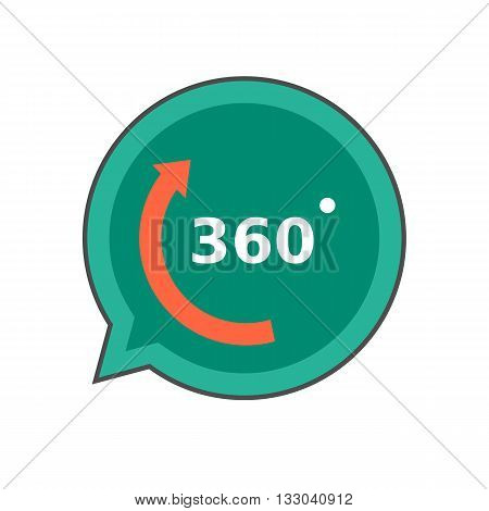 Three hundred sixty degrees colored line icon. Vector icon of three hundred sixty degrees inscription in speech bubble
