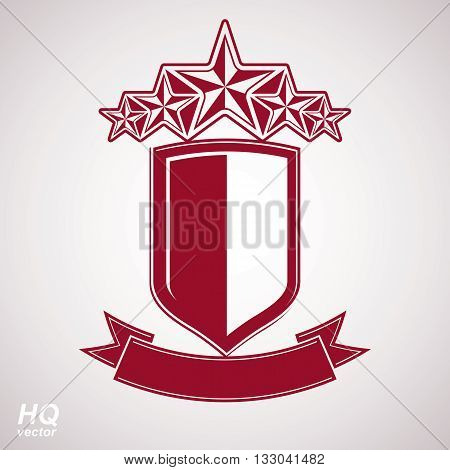 Vector red graphic shield with five stars and curvy ribbon