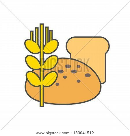 Bread vector icon. Colored line illustration of bread and wheat ear