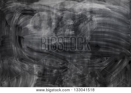 Chalk rubbed out on blackboard. Black background