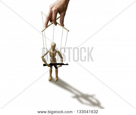 A puppet with gun in the hands of the tyrant on the isolated white background