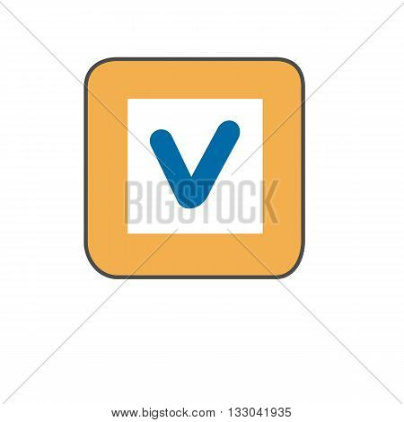 Check list button line icon. Colored vector illustration of button with tick sign