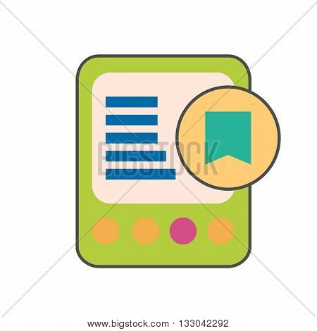 E-book device with bookmark colored line icon. Vector illustration of electronic book reader