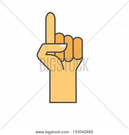 Hand gesture icon. Colored line icon. Vector illustration of hand with raised index finger