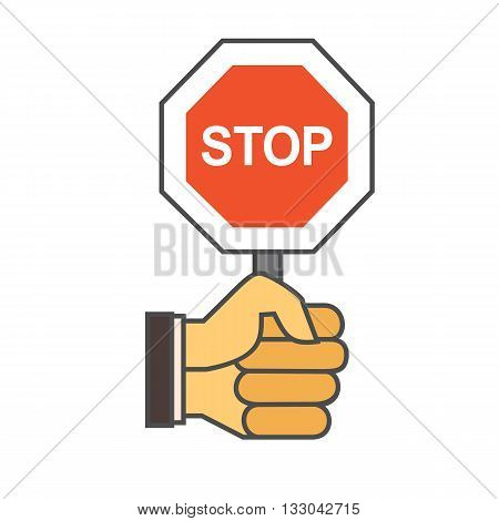 Hand with stop sign. Colored line icon. Vector illustration of hand holding stop sign
