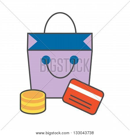 Shopping line icon. Vector illustration of shopping bag, coins and credit card