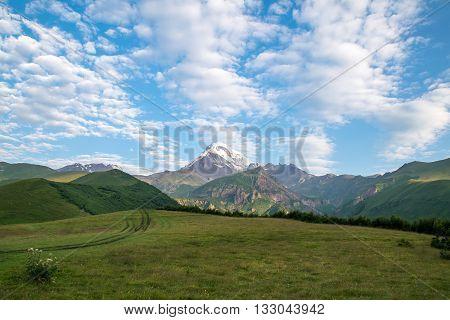 Mountain Kazbek view of the highest peak in Georgia
