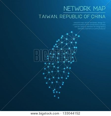Taiwan, Republic Of China Network Map. Abstract Polygonal Map Design. Internet Connections Vector Il