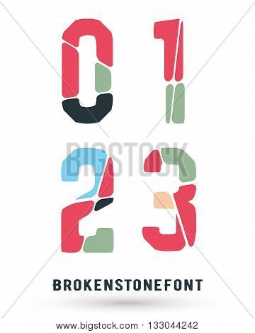 Alphabet broken font template. Set of numbers 0 1 2 3 logo or icon. Vector illustration.