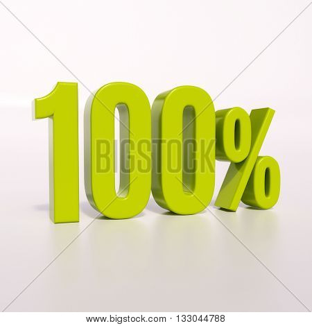 3d render: green 100 percent, percentage discount sign on white, 100%