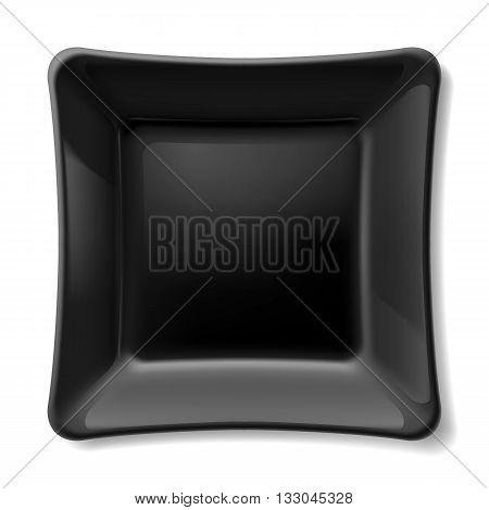 Illustration of flat black dish isolated on white background