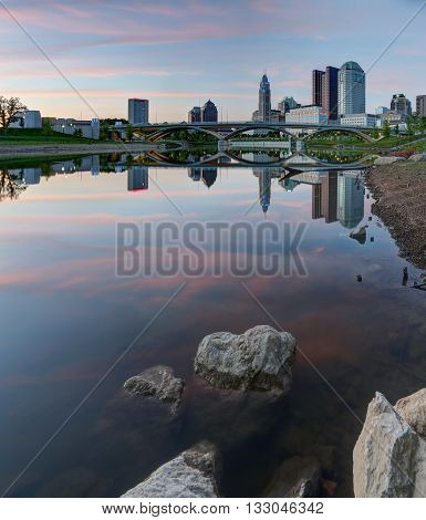 Scioto River and downtown Columbus Ohio skyline at Park at dusk